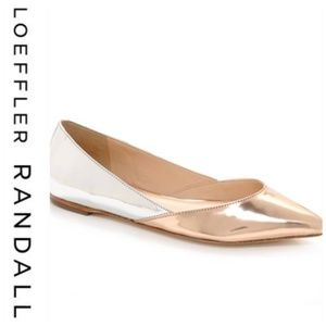 💕SALE Loeffler Randall  Silver Gold Metallic Flat